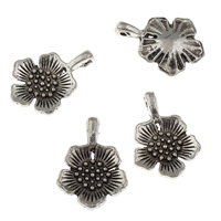 Zinklegierung Blume Anhänger, antik silberfarben plattiert, frei von Blei & Kadmium, 16x22x2.50mm, Bohrung:ca. 1mm, 20PCs/Tasche, verkauft von Tasche