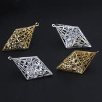 KRISTALLanhänger, Eisen, mit Kristall, plattiert, facettierte & hohl, keine, frei von Blei & Kadmium, 47x27mm, Bohrung:ca. 1.5mm, 10PCs/Tasche, verkauft von Tasche