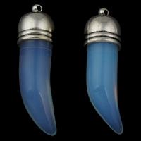Opal Anhänger, mit Zinklegierung Anhänger, Wolf-Zahn, antik silberfarben plattiert, 14x46x13.50mm, Bohrung:ca. 1mm, 5PCs/Tasche, verkauft von Tasche