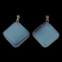Opal Anhänger, mit Zinklegierung Stiftöse, Rhombus, Platinfarbe platiniert, 25x27x6mm, Bohrung:ca. 3x5mm, 5PCs/Tasche, verkauft von Tasche