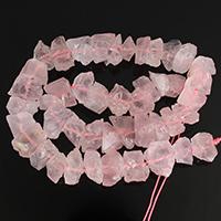 Natürliche Rosenquarz Perlen, 6-16x5-12x6-17mm, Bohrung:ca. 1-3mm, Länge:ca. 16 ZollInch, 5SträngeStrang/Menge, ca. 45PCs/Strang, verkauft von Menge