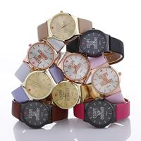 Damen Armbanduhr, PU Leder, mit Zinklegierung Zifferblatt & Glas, plattiert, einstellbar & mit Brief Muster & für Frau, keine, frei von Nickel, Blei & Kadmium, 35x8mm, Länge:ca. 9.4 ZollInch, verkauft von PC