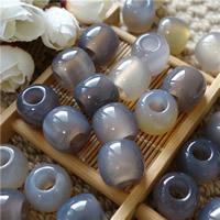Natürliche graue Achat Perlen, Grauer Achat, Trommel, 15x17mm, Bohrung:ca. 4-6mm, 10PCs/Tasche, verkauft von Tasche