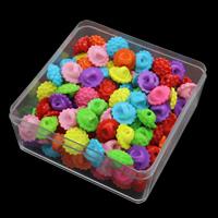 Volltonfarbe Acryl Perlen, Blume, gemischte Farben, 16x9mm, 95x95x41mm, Bohrung:ca. 2mm, 150G/Box, verkauft von Box