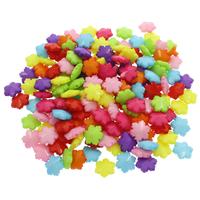 Volltonfarbe Acryl Perlen, Blume, gemischte Farben, 15x13.50x6mm, Bohrung:ca. 1mm, 500G/Tasche, verkauft von Tasche