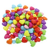 Volltonfarbe Acryl Perlen, Herz, gemischte Farben, 28x16.50x8.50mm, Bohrung:ca. 1mm, 500G/Tasche, verkauft von Tasche