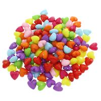 Volltonfarbe Acryl Perlen, Herz, facettierte, gemischte Farben, 12x12x7.50mm, Bohrung:ca. 1mm, 500G/Tasche, verkauft von Tasche