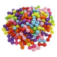 Volltonfarbe Acryl Perlen, gemischte Farben, 9x21mm, Bohrung:ca. 1mm, 500G/Tasche, verkauft von Tasche