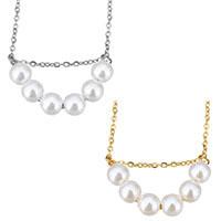 Edelstahl Schmuck Halskette, mit Glasperlen, mit Verlängerungskettchen von 2lnch, rund, plattiert, Oval-Kette & für Frau, keine, 6mm, 1.5mm, verkauft per ca. 18 ZollInch Strang