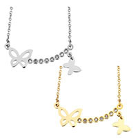 Edelstahl Schmuck Halskette, mit Verlängerungskettchen von 2lnch, Schmetterling, plattiert, Oval-Kette & für Frau & mit Strass, keine, 33x11mm, 9mm, 1.5mm, verkauft per ca. 17 ZollInch Strang