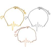 Edelstahl Schmuck Halskette, mit Verlängerungskettchen von 2lnch, plattiert, Armband  Bettelarmband & Oval-Kette & für Frau, keine, 35x24mm, 1.5mm, verkauft per ca. 7 ZollInch Strang