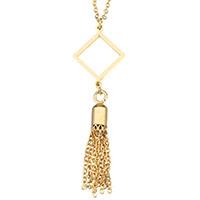 Edelstahl Schmuck Halskette, mit Verlängerungskettchen von 2lnch, QuasteTroddel, goldfarben plattiert, Oval-Kette & für Frau, 16x58mm, 1.5mm, verkauft per ca. 18 ZollInch Strang