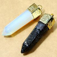Opal Anhänger, mit Messing, Pendel, vergoldet, natürliche, keine, 15.50x59x18mm, Bohrung:ca. 4mm, 5PCs/Menge, verkauft von Menge
