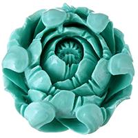 Harz Schmuckperlen, Blume, grün, 33x33.50x19mm, Bohrung:ca. 3mm, verkauft von PC