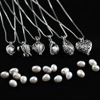 Natürliche Süßwasserperlen Halskette, Zinklegierung, mit Perlen, Platinfarbe platiniert, verschiedene Stile für Wahl & für Frau & hohl, 31x18mm, verkauft per ca. 17.5 ZollInch Strang
