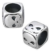 Edelstahl-Perlen mit großem Loch, Edelstahl, Würfel, mit Totenkopf-Muster & Schwärzen, 12x10x12mm, Bohrung:ca. 8.5mm, 10PCs/Menge, verkauft von Menge