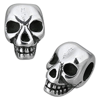 Edelstahl European Perlen, Schädel, Schwärzen, 8x9x13mm, Bohrung:ca. 4mm, 10PCs/Menge, verkauft von Menge