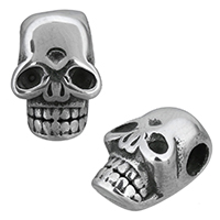 Edelstahl-Beads, Edelstahl, Schädel, Schwärzen, 9x12x7mm, Bohrung:ca. 3mm, 10PCs/Menge, verkauft von Menge