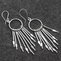 925 Sterling Silber Tropfen Ohrring, für Frau, 19x78mm, verkauft von Paar