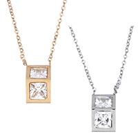 Edelstahl Schmuck Halskette, mit Verlängerungskettchen von 1.5lnch, Dreieck, plattiert, Oval-Kette & für Frau & mit kubischem Zirkonia, keine, 7.5x14mm, 1.5mm, Länge:ca. 16 ZollInch, 3SträngeStrang/Menge, verkauft von Menge