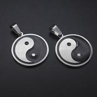 Titan -Anhänger, Titanstahl, flache Runde, Tai Ji & Emaille, 26x26mm, Bohrung:ca. 3-5mm, verkauft von PC