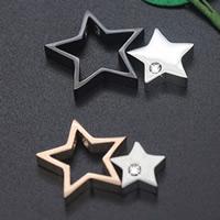 Titan -Anhänger, Titanstahl, Stern, plattiert, mit Strass, keine, 26mm, Bohrung:ca. 3-5mm, verkauft von PC