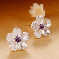 Messing Ohrstecker, Blume, versilbert, Micro pave Zirkonia, frei von Blei & Kadmium, 5-10mm, verkauft von Paar