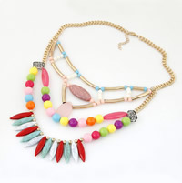 Mode Statement Halskette, Zinklegierung, mit Schwarz Vein Türkis, goldfarben plattiert, frei von Blei & Kadmium, 400mm, verkauft per ca. 15.75 ZollInch Strang