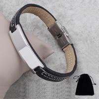 PU Schnur Armbänder, Edelstahl, mit PU Leder, verschiedene Verpackungs Art für Wahl, 11x39x5mm, verkauft per ca. 7.5 ZollInch Strang