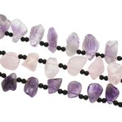 Natürlicher Quarz Perle, mit Glas, druzy Stil & verschiedenen Materialien für die Wahl, 18x34x13-26x35x16mm, Bohrung:ca. 1mm, ca. 17PCs/Strang, verkauft per ca. 15.5 ZollInch Strang