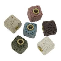 Natürliche Lava Perlen, mit Zinklegierung, Quadrat, goldfarben plattiert, gefärbt, keine, 14x12mm, Bohrung:ca. 3mm, 5PCs/Tasche, verkauft von Tasche