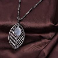 Zinklegierung Pullover Halskette, mit Eisenkette & Kristall, Blatt, metallschwarz plattiert, Doppelgliederkette & für Frau & facettierte & mit Strass, frei von Blei & Kadmium, 780mm, verkauft per ca. 30.5 ZollInch Strang