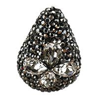 Kristall-Perlen, Lehm pflastern, mit Kristall, Tropfen, facettierte & mit Strass, 19-21x28-30x10-12mm, Bohrung:ca. 1mm, 10PCs/Tasche, verkauft von Tasche