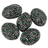 Harz Perlen Strass, Lehm pflastern, mit Harz, mit Strass & gemischt, 19-22x26-28x10-12mm, Bohrung:ca. 1mm, 10PCs/Tasche, verkauft von Tasche