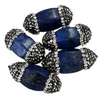 Lapislazuli Perlen, Lehm pflastern, mit natürlicher Lapislazuli, mit Strass & gemischt, 10-13x24-26x10-13mm, Bohrung:ca. 0.5mm, 10PCs/Tasche, verkauft von Tasche