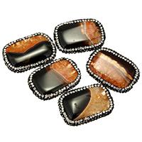 Achat Perlen, Lehm pflastern, mit Achat, natürlich, druzy Stil & mit Strass & gemischt, 23-25x33-35x7-9mm, Bohrung:ca. 1mm, 10PCs/Tasche, verkauft von Tasche