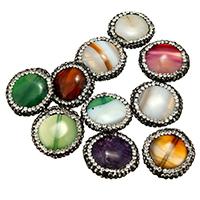 Achat Perlen, mit Ton, gemischt, 17-25x5-7mm, Bohrung:ca. 1mm, 10PCs/Tasche, verkauft von Tasche