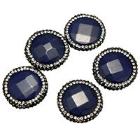 gefärbte Jade Perle, mit Ton, facettierte & gemischt, tiefblau, 22-24x22-25x7-8mm, Bohrung:ca. 1mm, 10PCs/Menge, verkauft von Menge