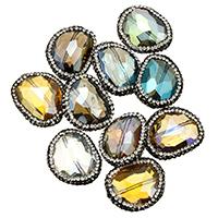 Kristall-Perlen, Kristall, mit Ton, facettierte & gemischt, 21-24x27-29x10-12mm, Bohrung:ca. 1mm, 10PCs/Menge, verkauft von Menge