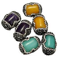 gefärbte Jade Perle, mit Ton, gemischt, 17-19x25-29x13-15mm, Bohrung:ca. 1mm, 10PCs/Menge, verkauft von Menge