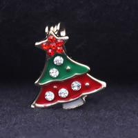Strass Brosche, Zinklegierung, Weihnachtsbaum, goldfarben plattiert, Weihnachtsschmuck & für Frau & Emaille & mit Strass, frei von Blei & Kadmium, 15x17mm, verkauft von PC