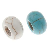 Türkis Perlen, Synthetische Türkis, Rondell, großes Loch, keine, 14x8mm, Bohrung:ca. 5mm, 100PCs/Tasche, verkauft von Tasche