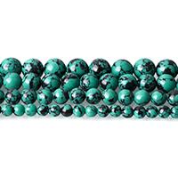 Synthetische Türkis Perle, rund, verschiedene Größen vorhanden, grün, Bohrung:ca. 0.5-2mm, Länge:ca. 15 ZollInch, verkauft von Menge