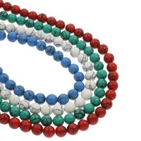 Synthetische Türkis Perle, rund, verschiedene Größen vorhanden, keine, Bohrung:ca. 1mm, verkauft per ca. 14.5 ZollInch Strang