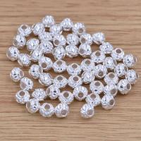 Messing Schmuckperlen, Trommel, versilbert, frei von Blei & Kadmium, 5.3x4.3mm, Bohrung:ca. 1.5mm, 10PCs/Tasche, verkauft von Tasche