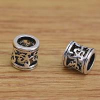 Messing hohle Perlen, Trommel, antik silberfarben plattiert, frei von Blei & Kadmium, 5.3x5.5mm, Bohrung:ca. 3mm, 10PCs/Tasche, verkauft von Tasche