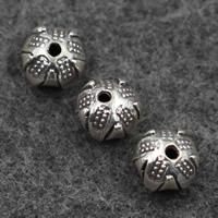 Bali Sterling Silber Perlen, Thailand, rund, 7x9mm, Bohrung:ca. 1mm, verkauft von PC