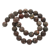 Leopardhaut Stein, rund, verschiedene Größen vorhanden, Bohrung:ca. 1mm, verkauft per ca. 14.5 ZollInch Strang