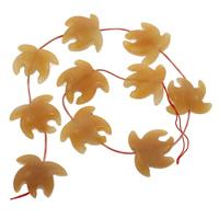 gelbe Jade Perle, Blatt, 24x28x6.50mm, Bohrung:ca. 1mm, ca. 10PCs/Strang, verkauft per ca. 16 ZollInch Strang