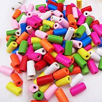 Holzperlen, Holz, Spritzlackierung, verschiedene Größen vorhanden & gemischt, farbenfroh, Bohrung:ca. 1.5mm, verkauft von Tasche